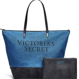 Victoria's Secret Denim tote & clutch